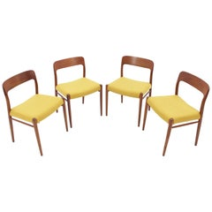 1960 Niels O. Møller Model 75 Chairs in Teak for J.L. Møllers, Set of Four