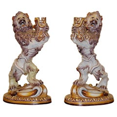 Pair of Galle a Nancy St. Clement Faience Candleholders, 19th Century