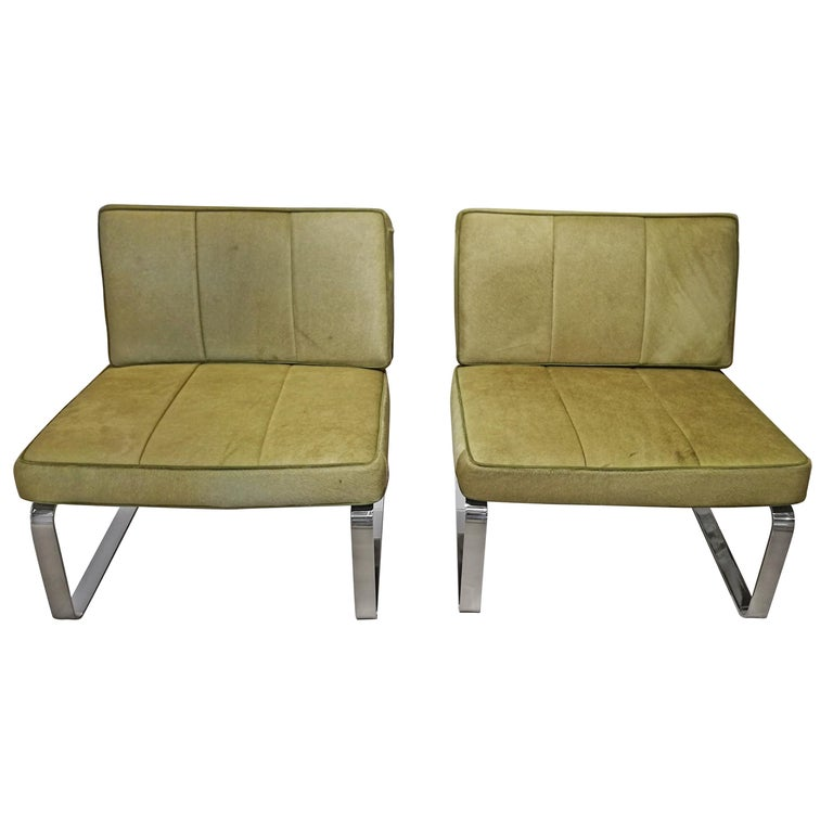 Pair of Green Horsehair Design Armchairs