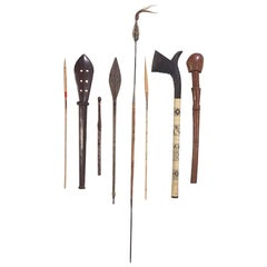 Collection of Fijian, Tongan, New Guinea and African War Clubs and Spears