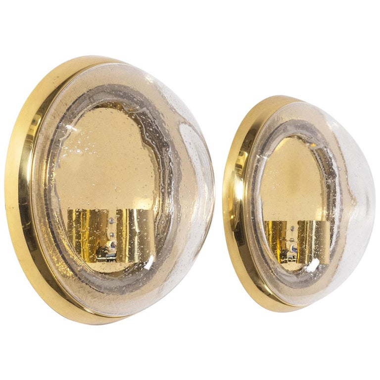 Pair of Brass and Bubble Glass Wall Lights, 1970s