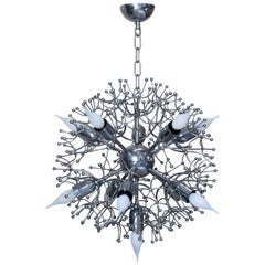 "Chrome ""Snowflake"" Chandelier, France, circa 1960s"