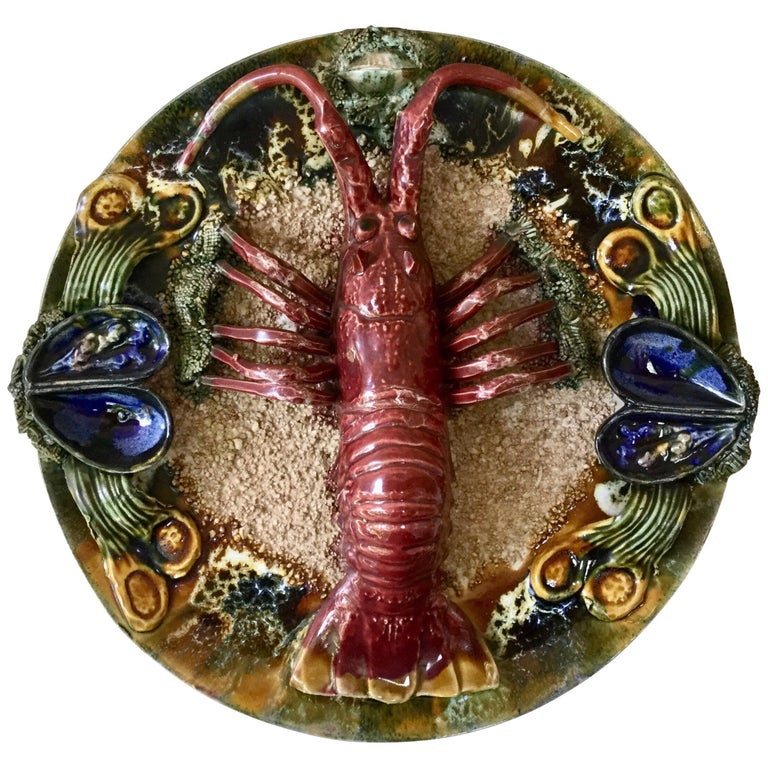 Majolica Palissy Portuguese Lobster Wall Platter, circa 1940