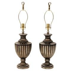 Pair of Pewter Finish Ceramic Urn Lamps