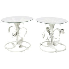Pair of White Lacquered Arthur Court Side Tables
