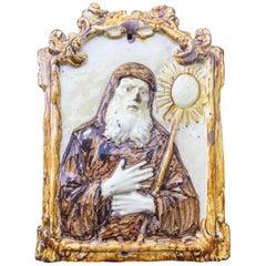 16th Century Majolica Tile, Italian Bas Relief of San Francesco Da Paola