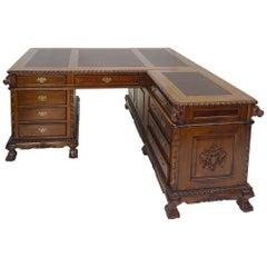 Solid Wood Antique Style Corner Desk