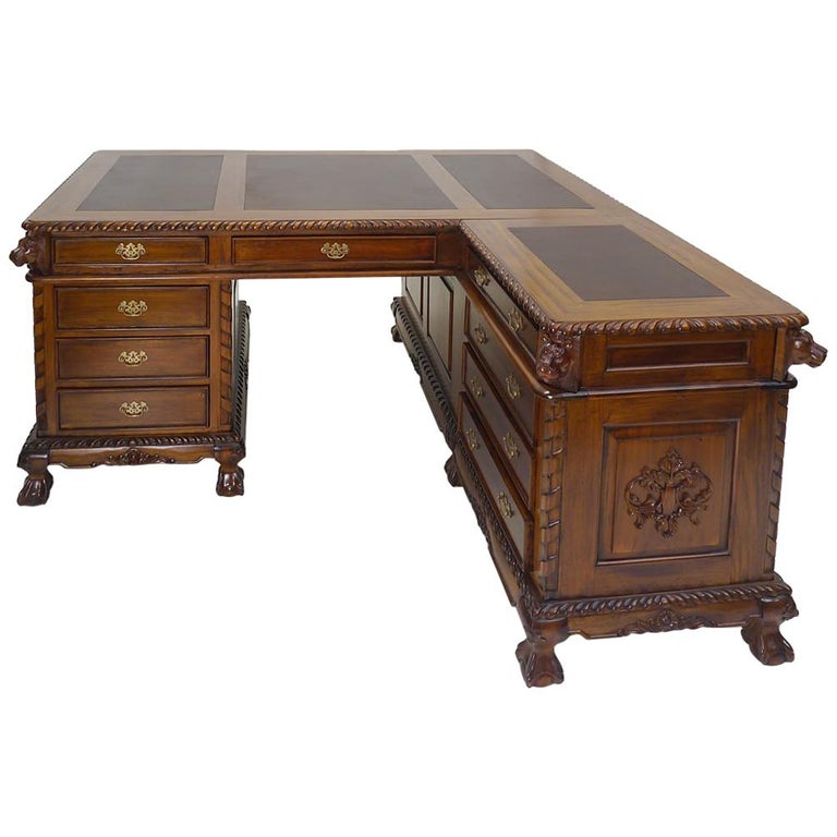 Solid Wood Antique Style Corner Desk For