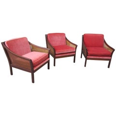 Vatne Møbler Teak and Cane Lounge Chairs