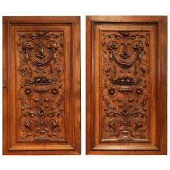 Large Pair of 19th Century French Carved Walnut Cabinet Doors with Lock