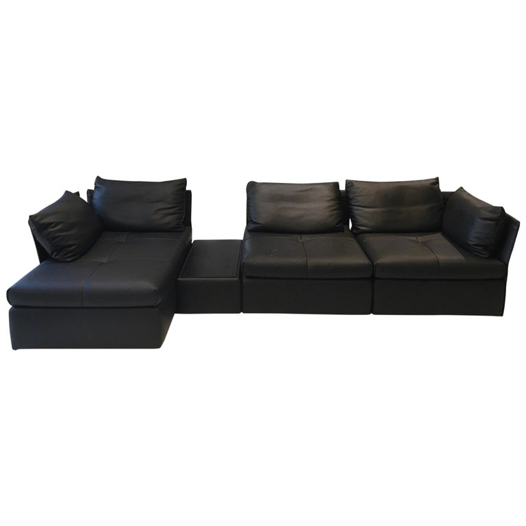 Ds 19 Black Leather Modular Sectional Sofa With Oak Table By De Sede For