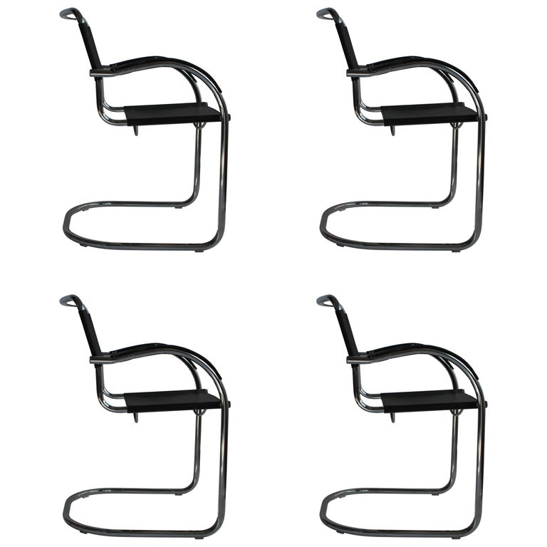 Set of Four Tubular Steel and Leather Dining Chairs by Matteo Grassi, Bauhaus