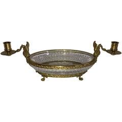Wonderful French Bronze Diamond Cut Crystal Oval Centerpiece Swan Ormolu Handles