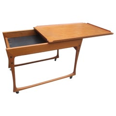 Ingvard Jensen Teak Rolling Cart with Sliding Tray Top