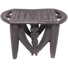 Early 20th Century Nigerian Nupe Stool with Animal Motifs
