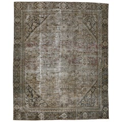 Distressed Antique Persian Mahal Rug with Modern Urban Industrial Style