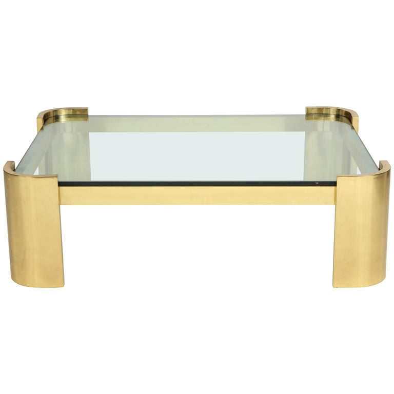 Large Polished Brass Coffee Table by Ron Seff