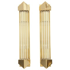 Pair of 1970s Glass Rod Sconces