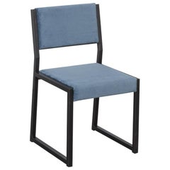 Bandholz Dining Chair in Blackened Steel with Upholstered Seat and Back