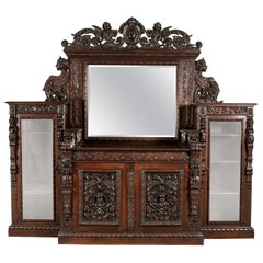 Massive Antique Elaborately Carved Sideboard Breakfront, Attributed R.J. Horner
