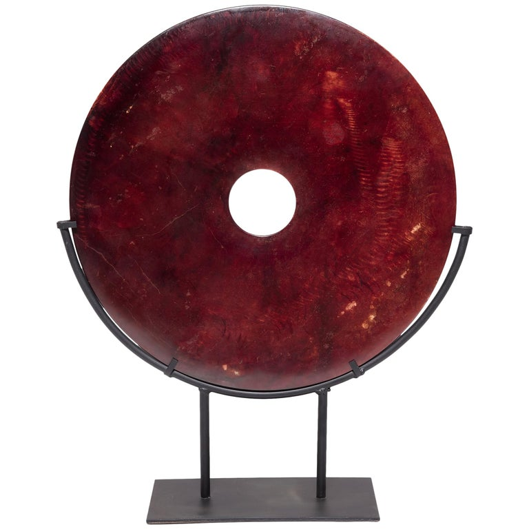 Chinese Fire Jade Bi Disc For Sale