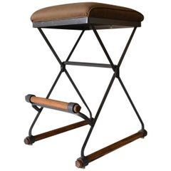 Cleo Baldon Iron and Oak Barstool, circa 1970