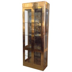 Signed Mastercraft Midcentury Brass Vitrine or Display Cabinet