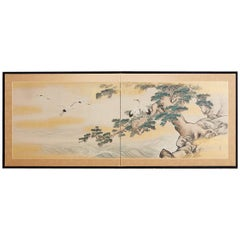 Japanese Showa Period Two-Panel Screen Cranes and Pine