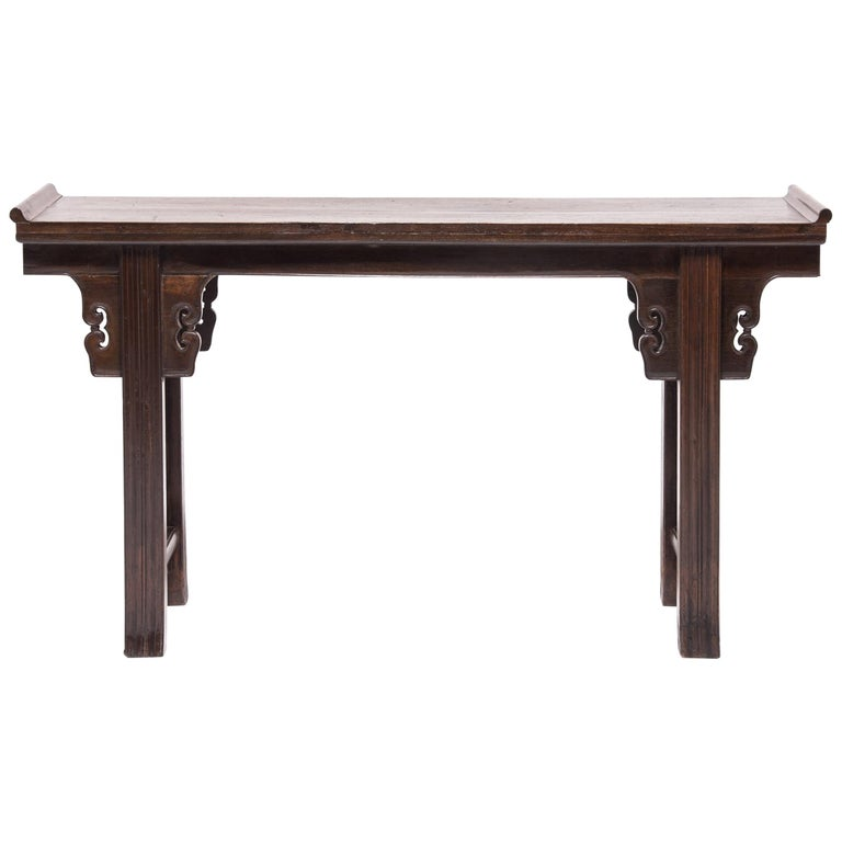 19th Century Chinese Altar Console Table with Everted Ends