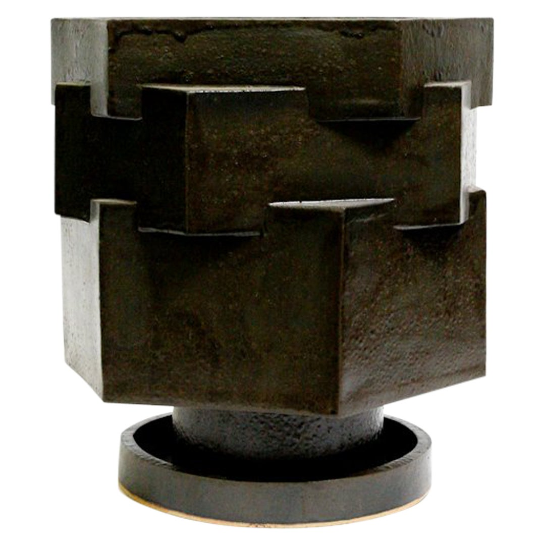 Large Contemporary Ceramic Black Hexagon Planter