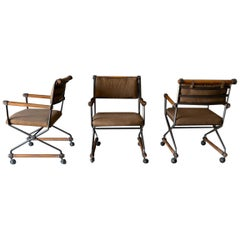 Set of Three Cleo Baldon Custom Iron and Oak Directors Chairs, circa 1970