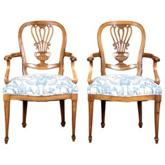 Pair of Carved Fruitwood Armchairs