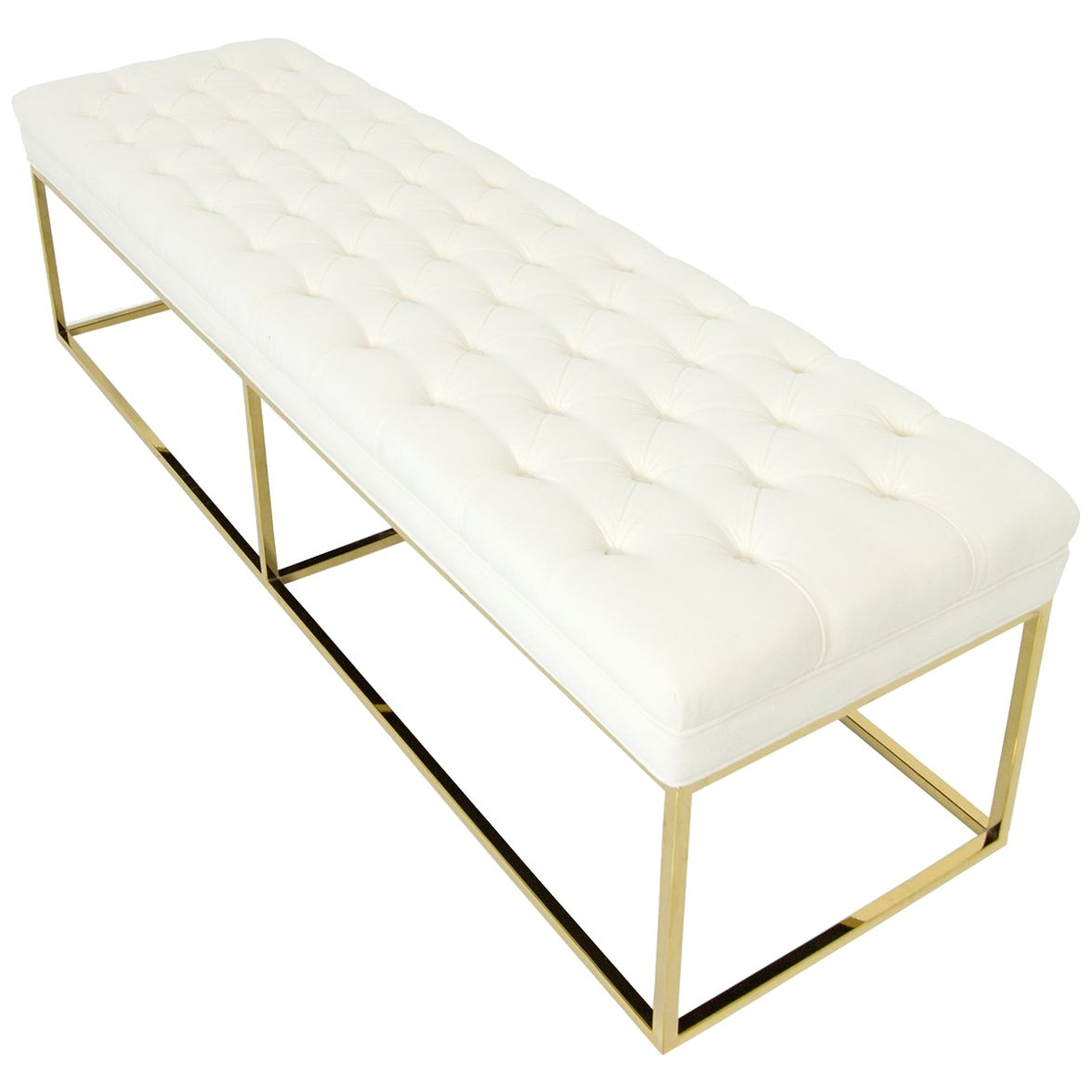 Modern Style Velvet Tufted Ottoman Bench with Polished Brass Geometric Frames