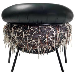 Grasso Armchair in Black Leather with Hairy Back by BD Barcelona