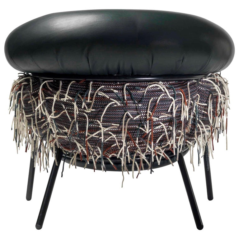 Grasso Armchair in Black Leather with Hairy Back by BD Barcelona For Sale