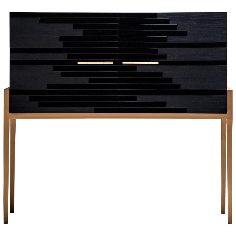 "Contemporary ""Vind"" Cabinet in Black Lacquer and Black Oak by Larissa Batista For Sale"