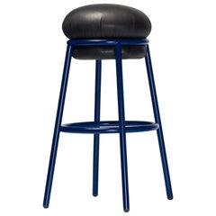 Grasso Stool in Black Leather with Blue Legs by BD Barcelona