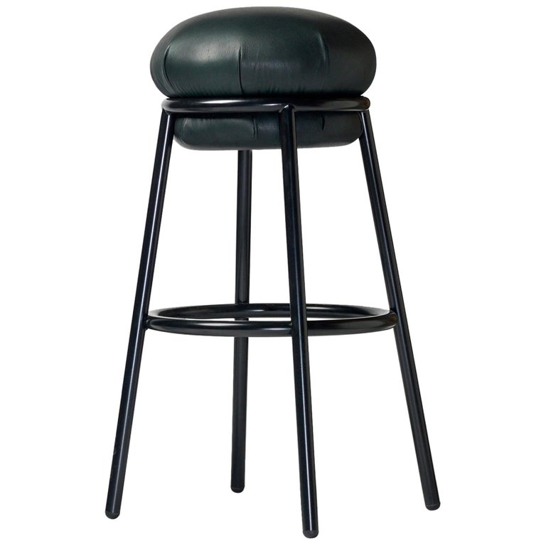 Grasso Stool in Green Leather with Black Legs by BD Barcelona