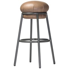 Grasso Stool in Beige Leather with Dark Brown Legs by BD Barcelona