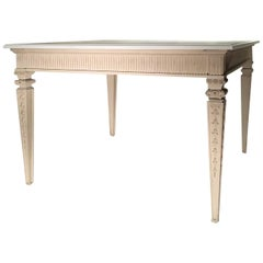 Louis XVI French Style White Ecru Hand Lacquered Carved Oak Square Dining Table