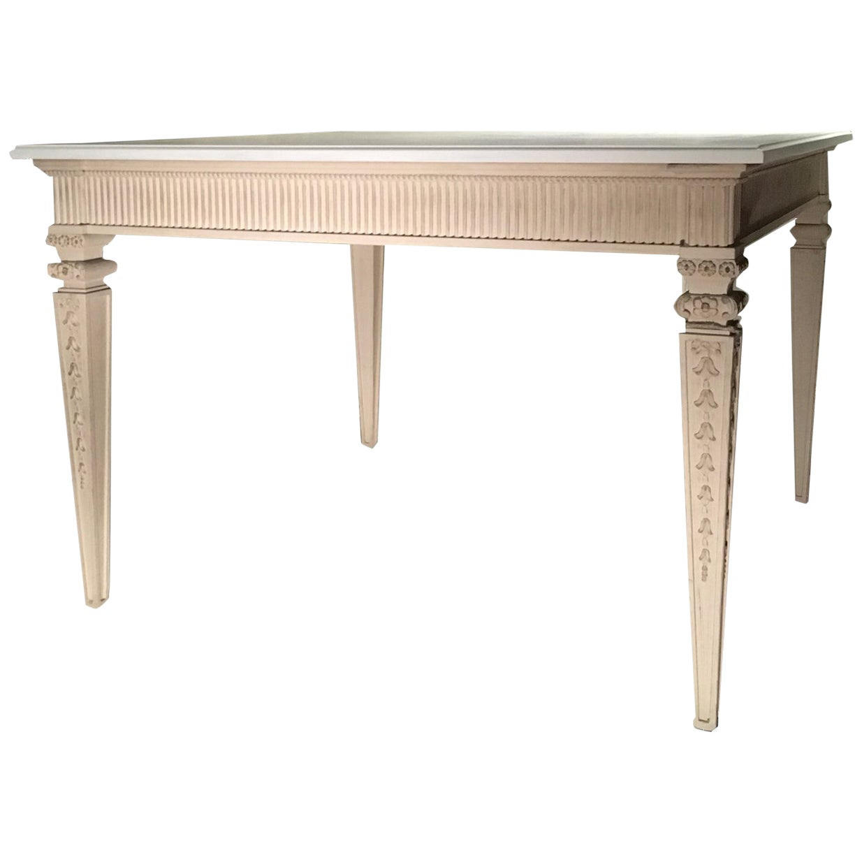 France Louis XVI Style Kitchen White Painted Dining Table