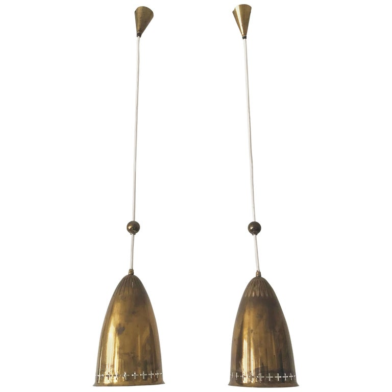 Pair of Exceptional Scandinavian Pendant Lamps by Hans Bergström Attributed