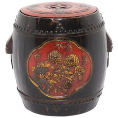 19th Century Chinese Chrysanthemum Drum Form Stool with Blessings