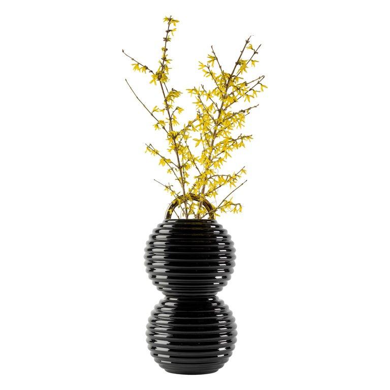 Grasso Plain Double Ceramic Vase in Black by BD Barcelona