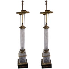 Elegant French Pair of Doré Bronze Cut Crystal Ormolu Column Neoclassical Lamps