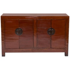 Early 20th Century Chinese Four Door Red Lacquer Chest