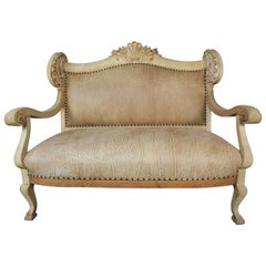 19th Century French Leather Upholstered Bench