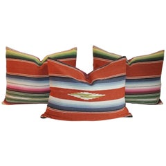 Serape Pillows in Burnt Orange, Collection of Three