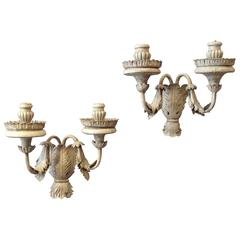 20th Century Pair of Grey Painted Baroque Style Two-Arm Wall Lights