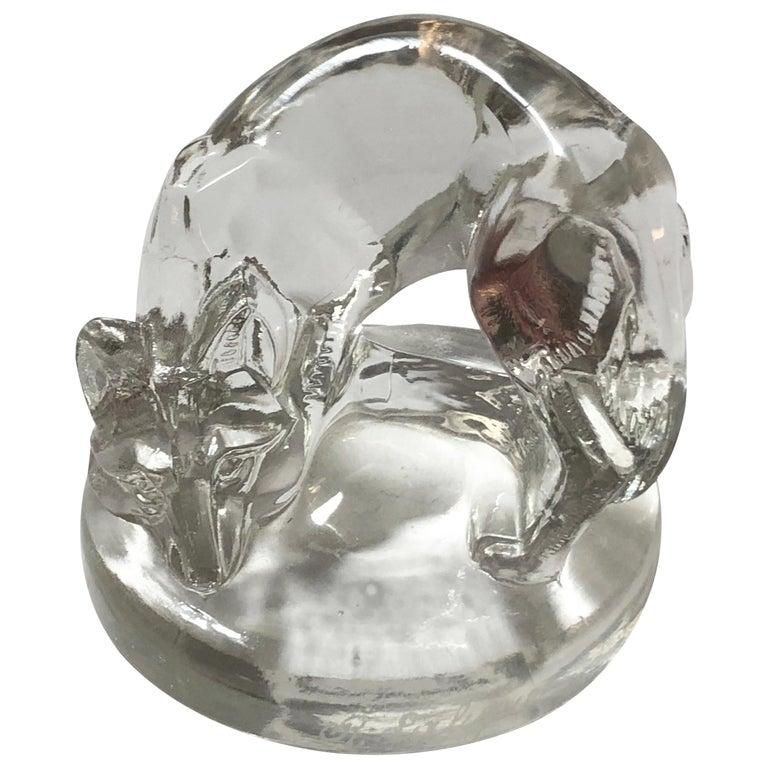 1926 René Lalique Renard Seal Clear Glass, Fox Figurine